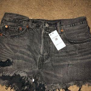 BNWT Levi's 501 black distressed shorts